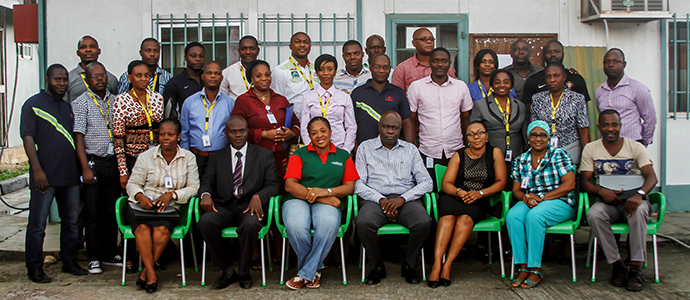 Group photograph of trained peer educators and staffs of NiBUCAA