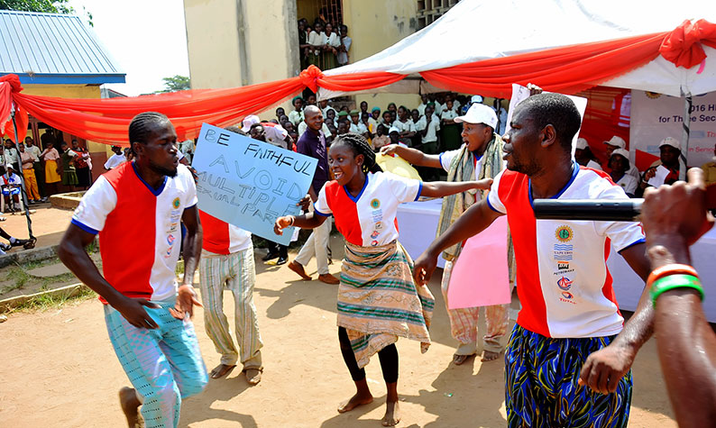 Cultural troupe in a dance drama at Dolphine Senior High School Total Empowerment event